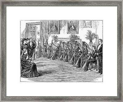 Harp Performance, 1889 Framed Print by Granger
