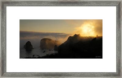 Harris Beach Sunset Panorama Framed Print