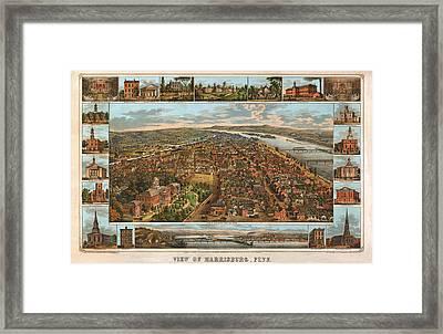 Harrisburg Pennsylvania 1855 Framed Print by Donna Leach