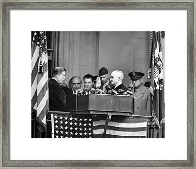 Harry Truman Is Sworn In A Vice Framed Print by Everett