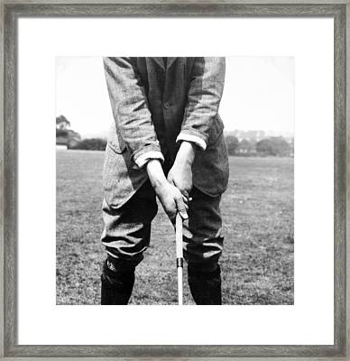 Framed Print featuring the photograph Harry Vardon Displays His Overlap Grip by International  Images