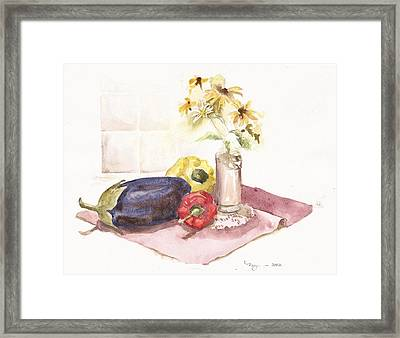Harvest And Flowers Framed Print by Marilyn Madison