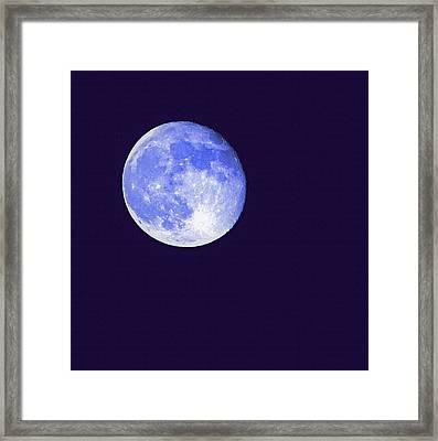 Harvest Moon - Blue Moon Framed Print by Steve Ohlsen