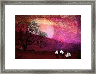 Framed Print featuring the digital art Harvest Moon Sheep by Jean Moore
