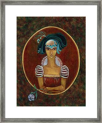 Hat Dream Fantasy Woman Face With Dramatic  Blue Hat Old Style Red Dress With White Lace Sleeves  Framed Print by Rachel Hershkovitz