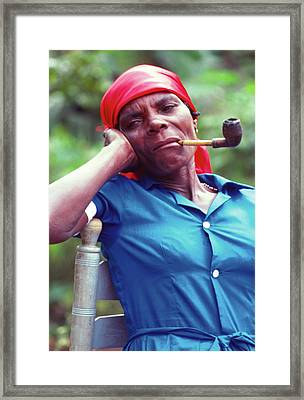 Hatian Woman With A Red Scarf And A Pipe Framed Print