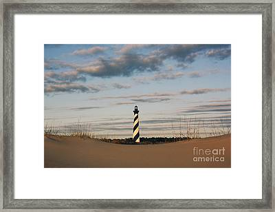 Framed Print featuring the photograph Hatteras Lighthouse And The Smiling Dune by Tony Cooper