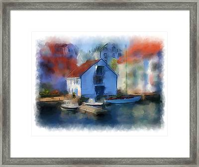 Haugesund Boat House Framed Print by Michael Greenaway