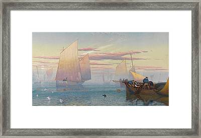 Hauling In The Nets Framed Print by JB Pyne