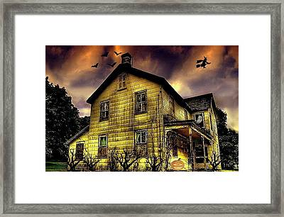 Haunted Halloween House Framed Print by Robin Pross