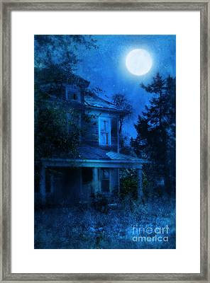 Haunted House Full Moon Framed Print by Jill Battaglia