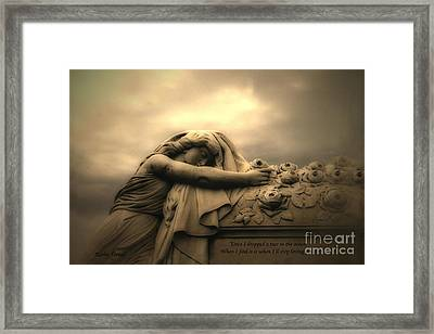 Haunting Cemetery Angel Mourner Rose Casket Framed Print by Kathy Fornal