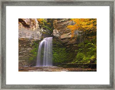 Havana Glen Waterfall Framed Print by Cindy Haggerty
