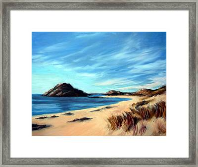 Framed Print featuring the painting Havik Beach by Janet King
