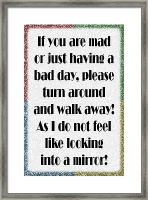 Having A Bad Day Framed Print by Andee Design