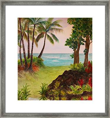 Framed Print featuring the painting Hawaiian Oceanside by Kerri Ligatich