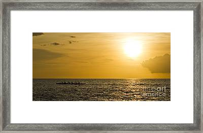 Hawaiian Outrigger Canoe Sunset Framed Print
