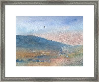 Hawk At Sunset Over Stenbury Down Framed Print by Alan Daysh