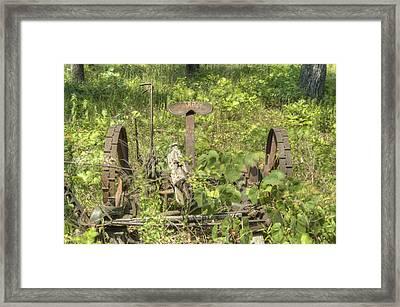 Hay Cutter In The Weeds 1 Framed Print