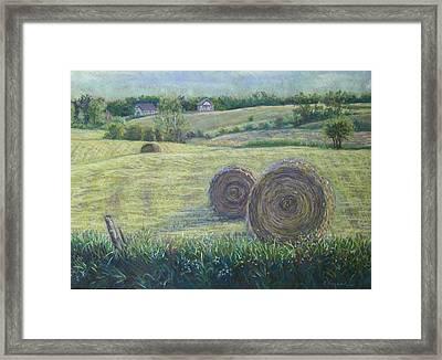 Haybales Durham County Framed Print by Ruth Greenlaw