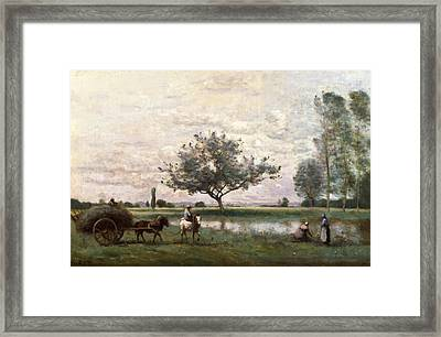 Haycart Beside A River  Framed Print by Jean Baptiste Camille Corot