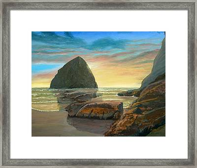 Framed Print featuring the painting Haystack Kiwanda Sunset by Chriss Pagani