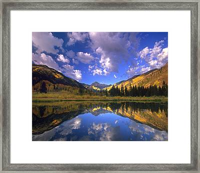 Haystack Mountain Reflected In Beaver Framed Print by Tim Fitzharris