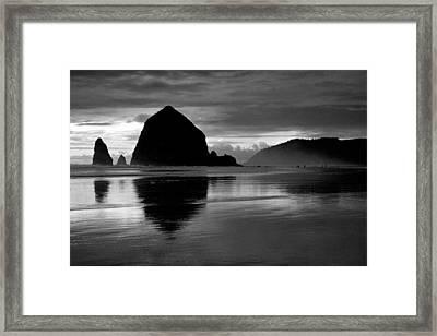 Haystack Rock Bw Framed Print by Kami McKeon
