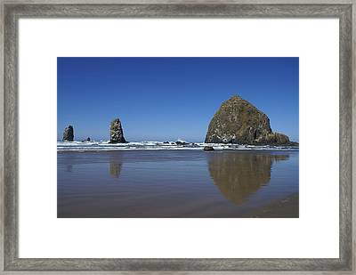 Haystack Rock Framed Print by Jerry Cahill