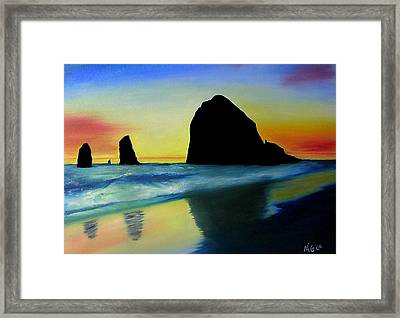 Haystack Shadows  Framed Print by Mary Gaines