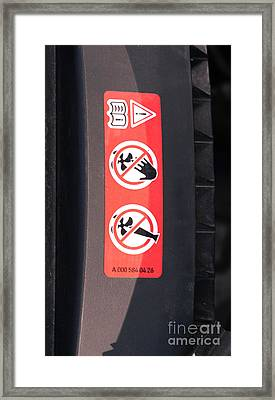 Hazard Warning Sticker Framed Print by Photo Researchers