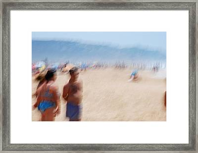 Haze On The Beach Framed Print by Perry Van Munster