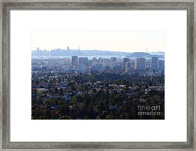 Hazy San Francisco Skyline Viewed Through The Oakland Skyline . 7d11341 Framed Print by Wingsdomain Art and Photography