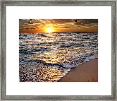 Hdr Beach Sunrise Framed Print