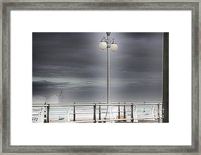 Hdr Lamp Post Beach Beaches Boardwalk Ocean Sea Effect Photos Pictures Photo Picture Photography New Framed Print