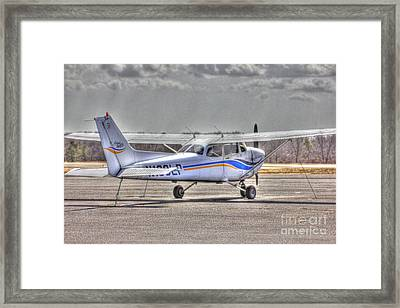 Hdr Plane Tail Back Parked But Ready To Go Framed Print