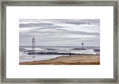 Hdr Two Light Towers Beach Beaches Ocean Sea Seaview Oceanview Photos Pictures Photography Photo Pic Framed Print by Pictures HDR