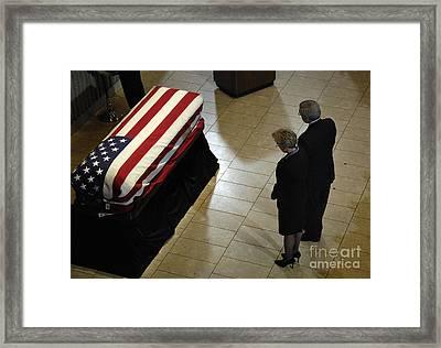 He Casket Of Former President Gerald R Framed Print