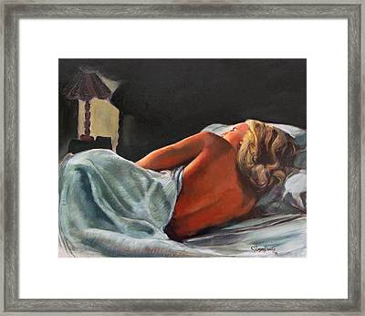 He Snuck Out Of Bed Framed Print by Mona Davis