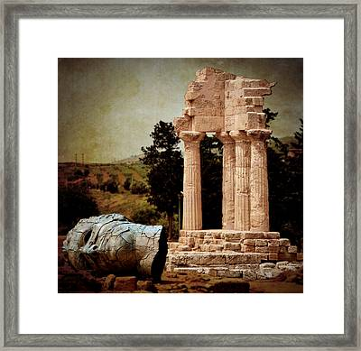Head At Temple Of Castor And Pollux Framed Print