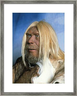 Head Of A Model Of A Neanderthal Man Framed Print