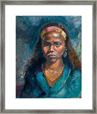 Head Of A Woman Framed Print by Ellen Dreibelbis