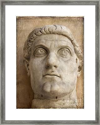 Head Of Emperor Constantine. Rome. Italy Framed Print by Bernard Jaubert