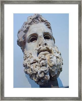 Head Of Zeus At The Acropolis Museum Framed Print by Richard Nowitz