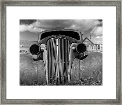 Headlights And Grill With Clouds Framed Print