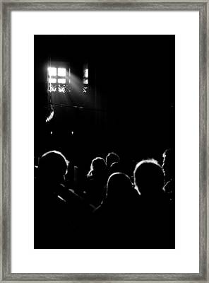 Heads Looking For Light Black And White Framed Print by Mustafa Otyakmaz