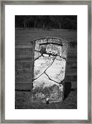 Headstone Of Lafayette Meeks Framed Print by Teresa Mucha