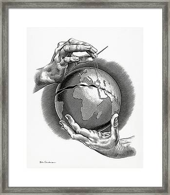 Healing The World, Conceptual Artwork Framed Print by Bill Sanderson