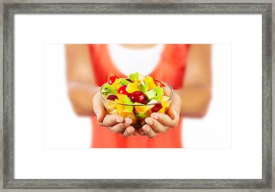 Healthy Fruit Salad Framed Print by Anna Om