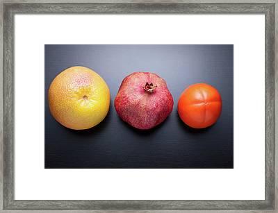 Healthy Fruits On Dark Wooden Background Framed Print